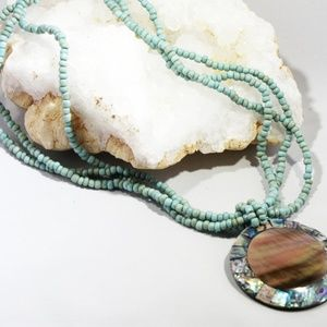 Beaded Turquoise Necklace with Shell Pendant